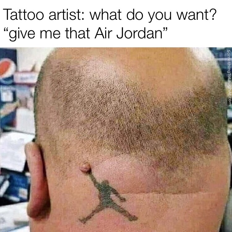 air jordan meme tattoo mole