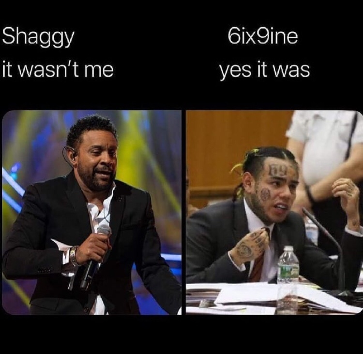 Shaggy it wasn't me Tekashi meme