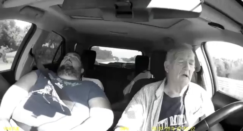 Old man almost crashes car