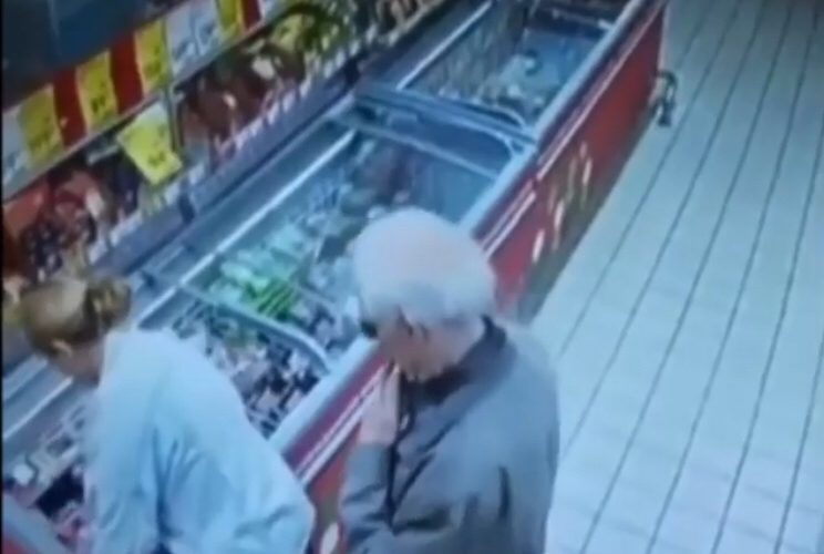 Dirty old man pushes up on women