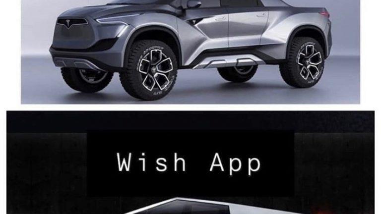 Expectation vs Wish app Tesla Cybertruck meme