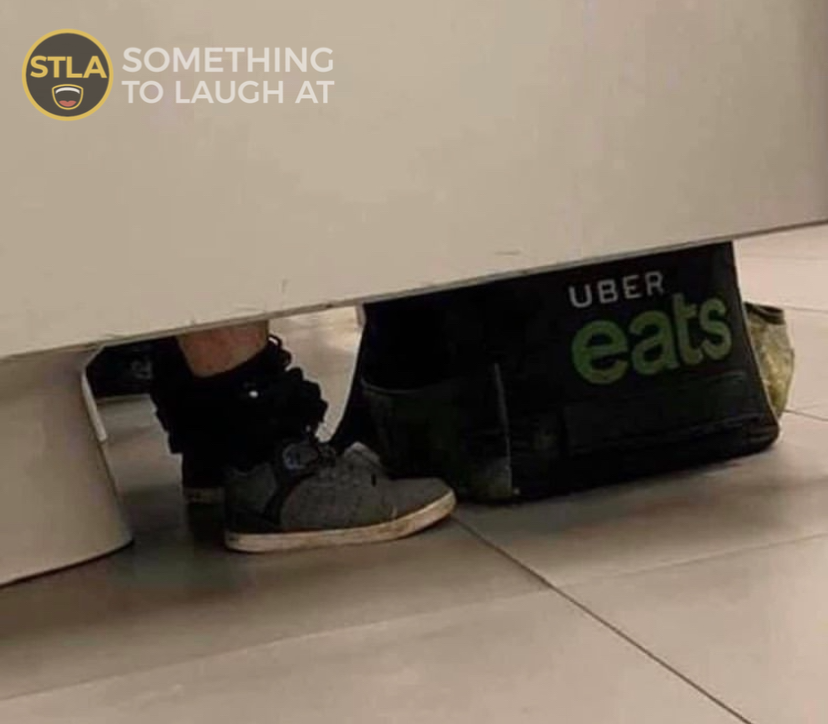 uber eats in bathroom picture