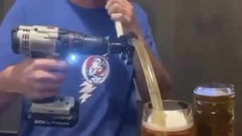 chugging beer with a drill