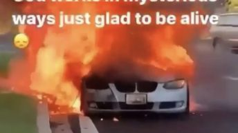 BMW burned up