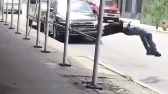 man knocks himself out flipping