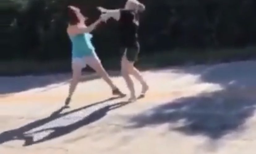 girls fight in the street