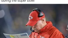 Andy Reid looking at the menu to find what chicken wings he's gonna order today during the Super Bowl meme