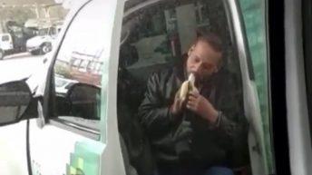 Man caught eating banana at gas station