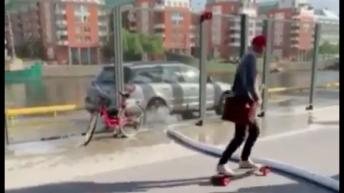 Guy flies off of skateboard
