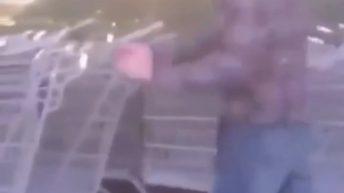 Man licks grocery cart handle