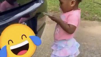 Baby tries to film own TikTok video