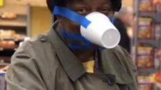 Woman makes surgical mask out of plastic cup