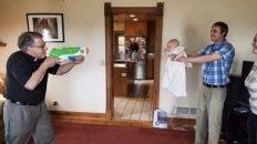 Social distancing baptism water gun meme