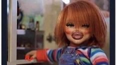Doing my makeup just to sit at home Chucky doll meme