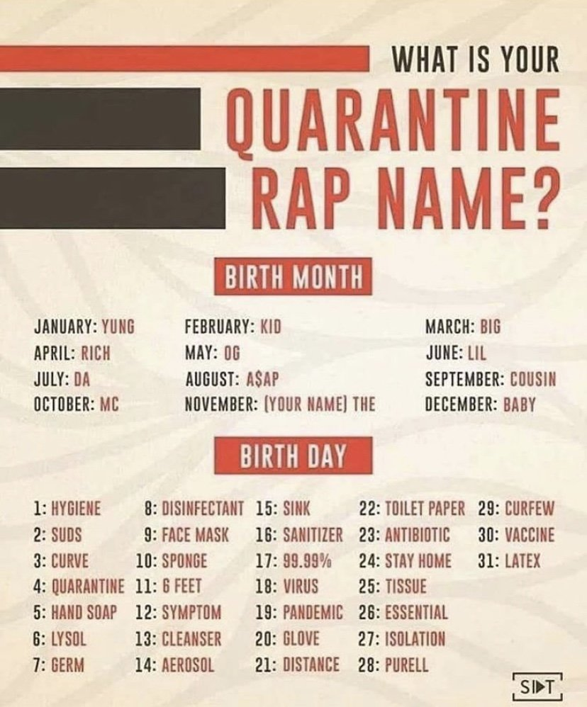What is your quarantine rap name
