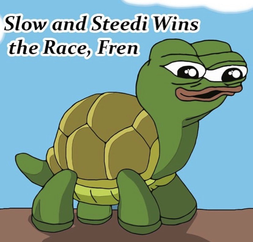 slow and steedi wins the race fren pepe the frog turtle meme