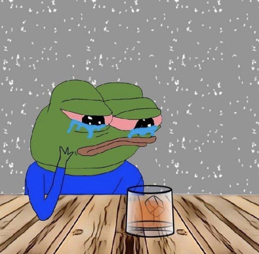Crying Pepe at bar meme