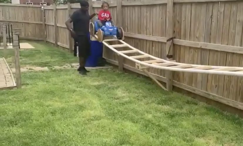 Grandfather builds rollercoaster for grandson