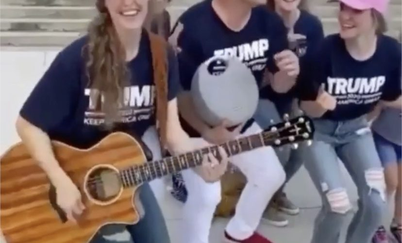 Trump supporters sing for Trump