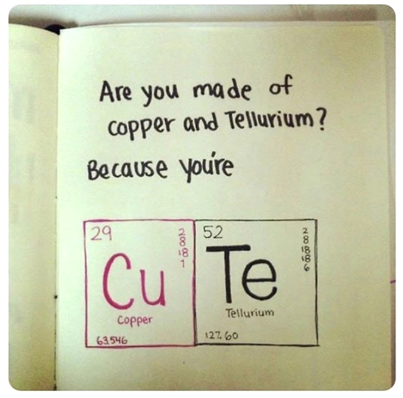 are you made of copper and tellurium because you're cute meme