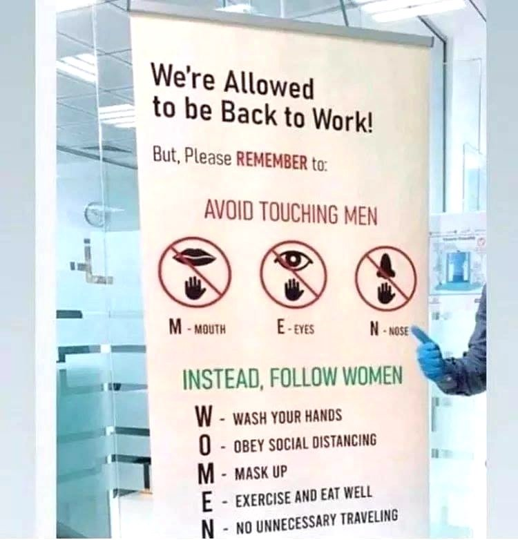 we're allowed back to work poster
