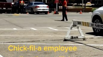 Chick-Fil-A employee directs traffic