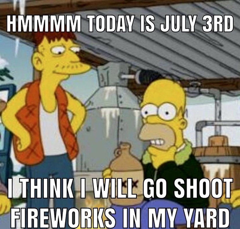 today is july 3rd i think I will go shoot fireworks in my yard Simpsons meme