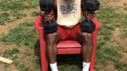 weightlifting gone wrong plastic chair