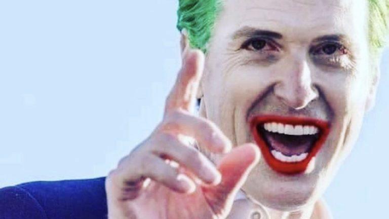 Gavin Newsom as joker meme