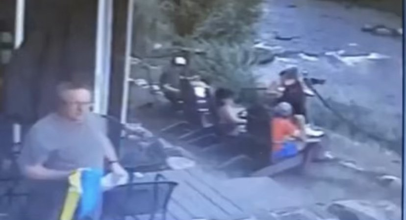Tree barely misses woman sitting in chair