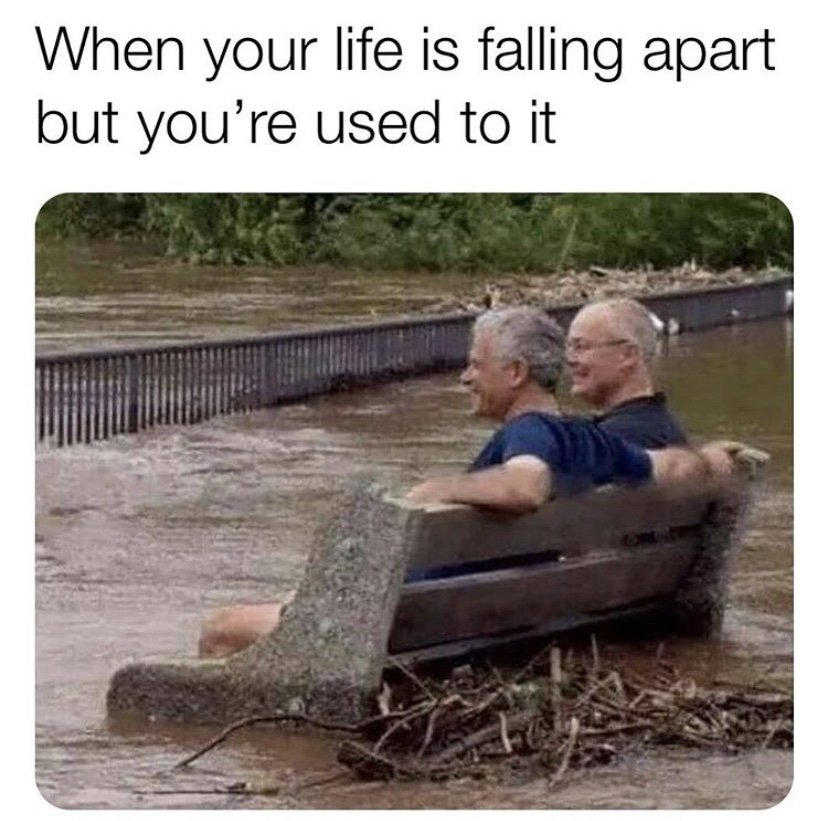 When your life is falling apart but you're used to it meme ...