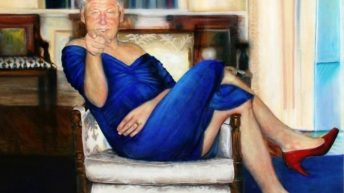 Bill Clinton in dress and red heels Jeffrey Epstein painting