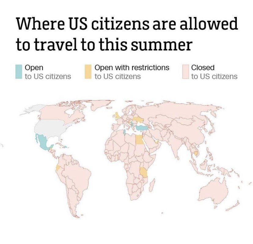Chart where US citizens are allowed to travel this summer