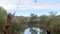Swinging over pond fail