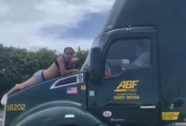 Man rides truck in scary way