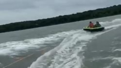 Raft pulled by boat fail