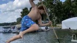 guy goes spearfishing