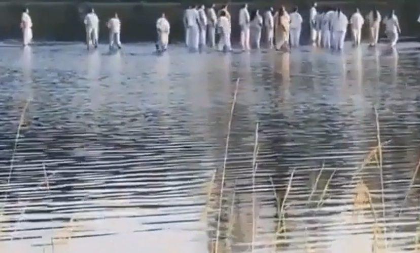 Kanye West and Joel Olsteen walk on water