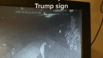 Guy caught peeing on Trump sign