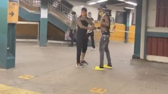 Man jumps over subway