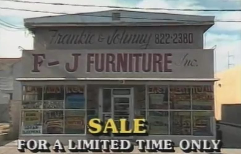 Frankie and Johnny's furniture commercial