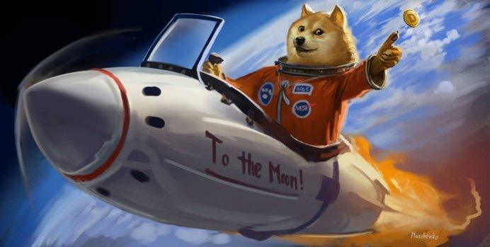 Dogecoin to the moon meme