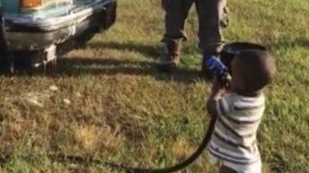 Baby helps grandpa wash truck