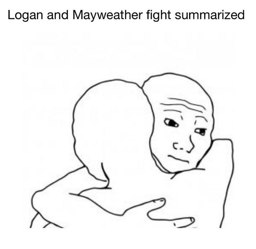 Logan and Mayweather fight summarized meme