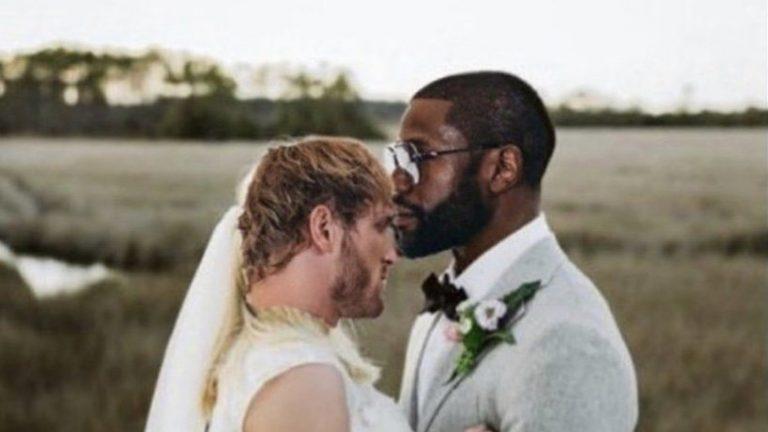 Floyd Mayweather and Logan Paul bride and groom hugging meme