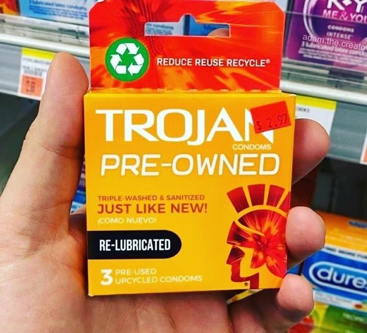 Trojan pre-owned condoms meme