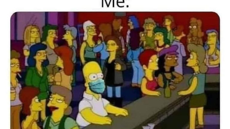 Glad things are going back to normal finally vs me with mask Simpsons meme
