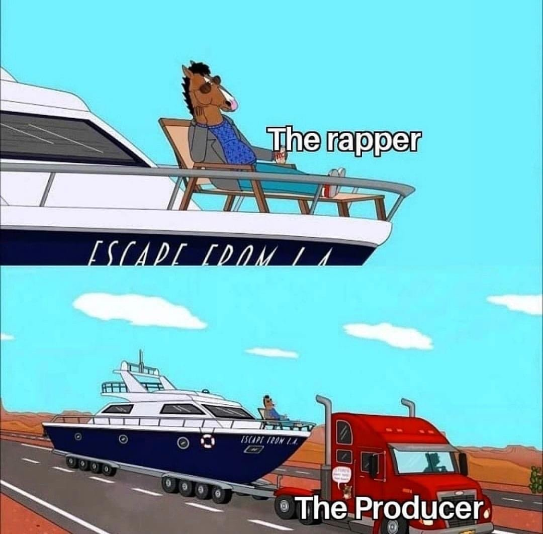 The rapper vs the producer Bo Jack Horseman meme