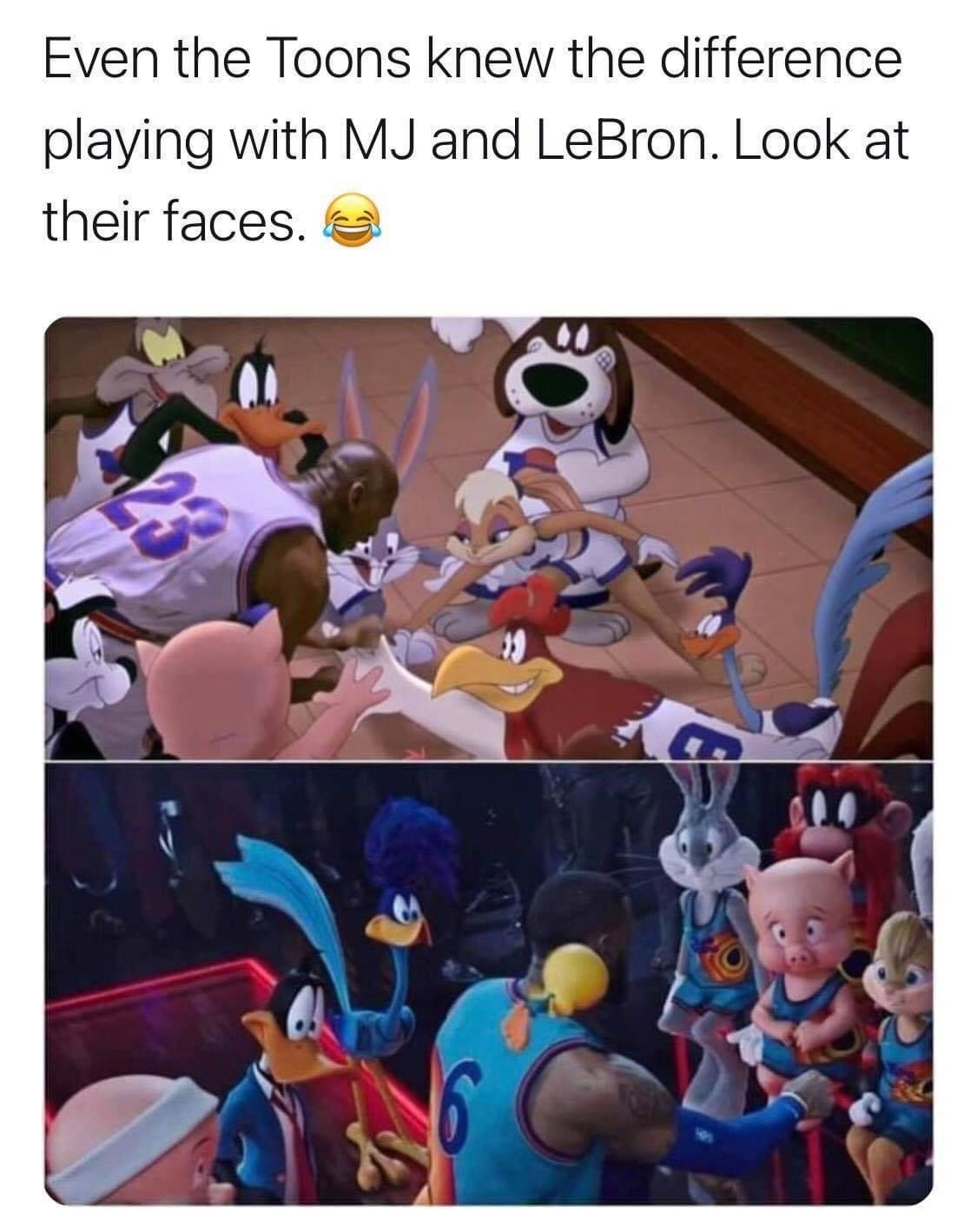 Even the Toon knew the difference playing with MJ and LeBron. Look at their faces Space Jam meme