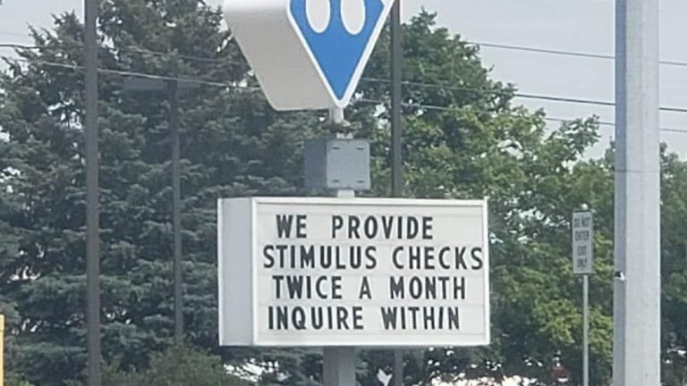 We provide stimulus checks twice a month inquire within Dominos sign